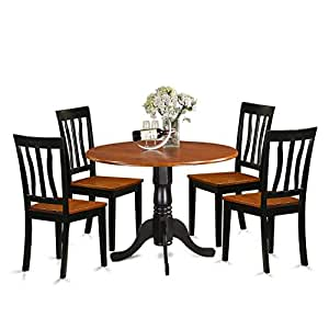 East West Furniture DLAN5-BCH-W 5 Piece Dining Table and 4 Kitchen Chairs Set