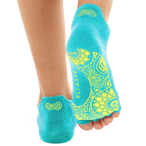 Ellaste Open Toe Yoga Socks – Non Slip Half Toe Sock With Anti Skid Grip For Yoga Pilates Barre: For Women Girl (Aqua, Small/Medium (Women 5.5-8.5/Men 4.5-7.5))