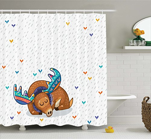 Moose Shower Curtain Set by Ambesonne, Colorful Antlers Boho Deer Retro Artsy Winter Rain Pattern Rainbow Hearts Animal Theme, Fabric Bathroom Decor with Hooks, 75 Inches Long, Multicolor