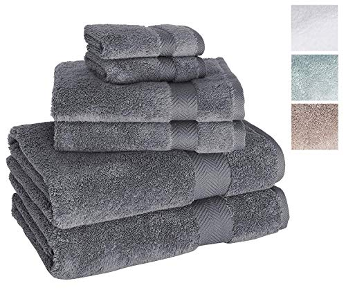 Towels Beyond Luxury 6 Piece Bath Towel Set - Quick Dry Hotel and Spa Soft Cotton Linen Made with 100% Turkish Cotton (Grey) (Egyptian Turkish Cotton Or)