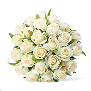 Easin Bridal Bouquet Silk Ivory Roses 26heads Wedding Bouquet for Room Home Hotel Party Event Decoration (Ivory) (Ivory) 43