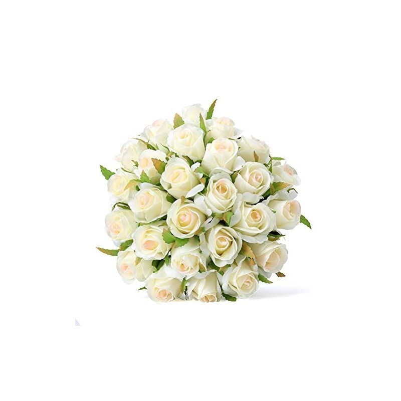 silk flower arrangements easin artificial rose bouquet bridal bouquet silk ivory roses 26heads wedding bouquet for room home hotel party event decoration (ivory) (ivory)