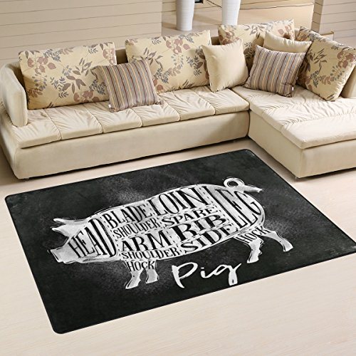 Yochoice Non-slip Area Rugs Home Decor, Vintage Retro Funny Cartoon Pig Floor Mat Living Room Bedroom Carpets Doormats 31 x 20 inches