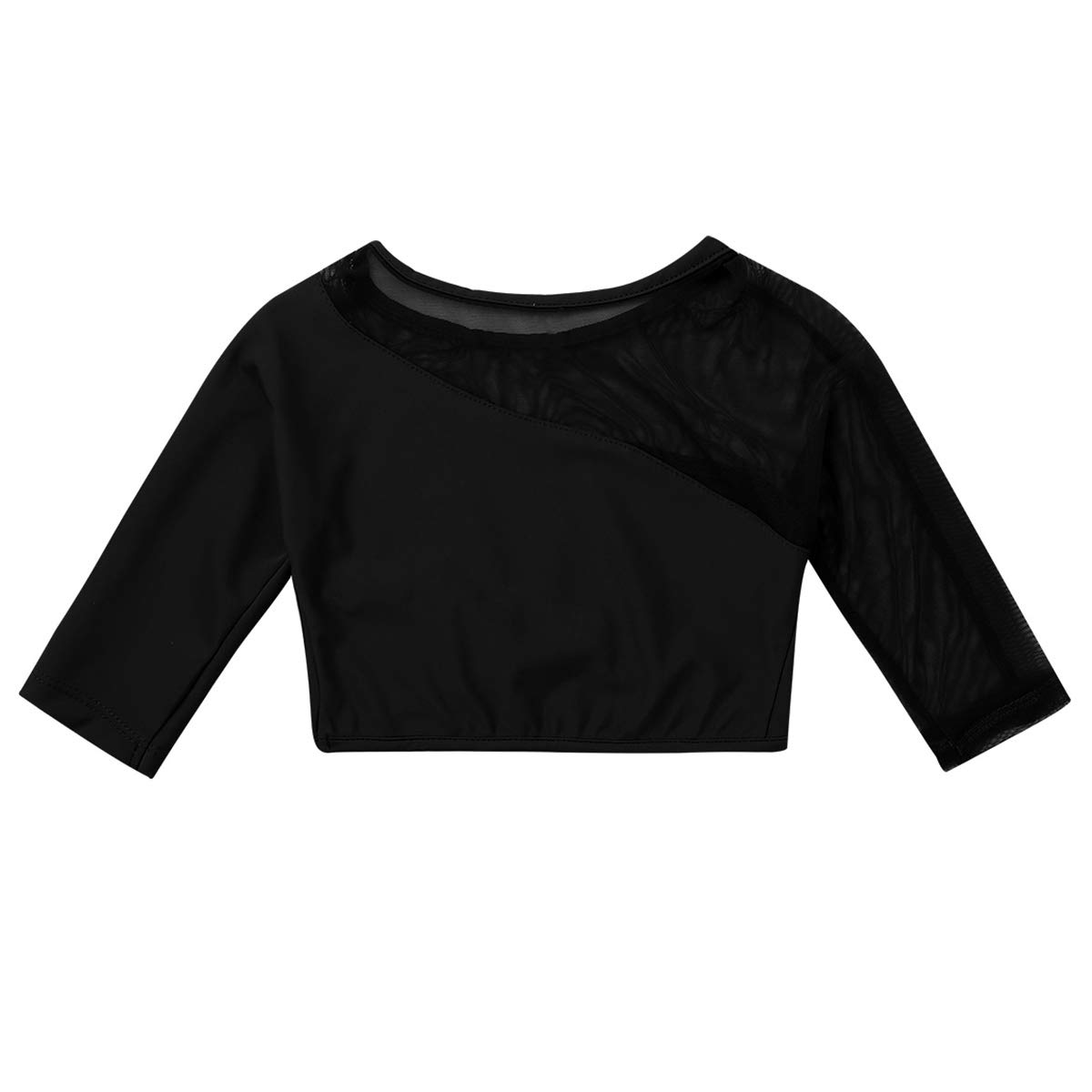 MSemis Girls Lycra Long Sleeved High Neck Crop Top Solid Shirt Dance Performing Sports Costume