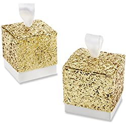 "Kate Aspen ""All That Glitters Gold Party Favor Box, Wedding Decorations, Set of 24"