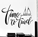 Large Wall Vinyl Decal Ship Yacht Quote Time To Travel Home Interior Decor z4217