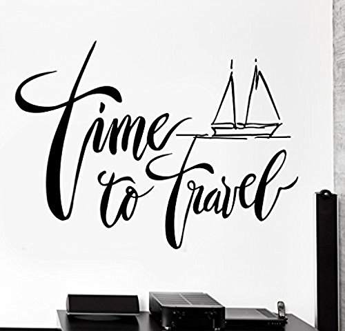 Large Wall Vinyl Decal Ship Yacht Quote Time To Travel Home Interior Decor z4217 by Art of Decals