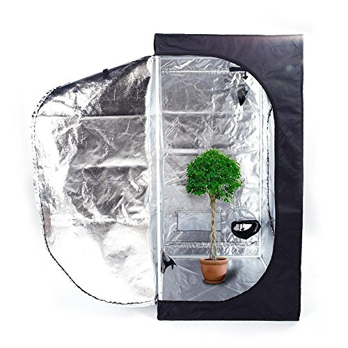 Olymstore 32 x 32 x 64-inch Reflective Mylar Hydroponics Plant Growing Tent, GreenHouse, Home Use Dismountable Water-Resistant Black for Indoor Seedling/Plant Growing & Germination by Olymstore