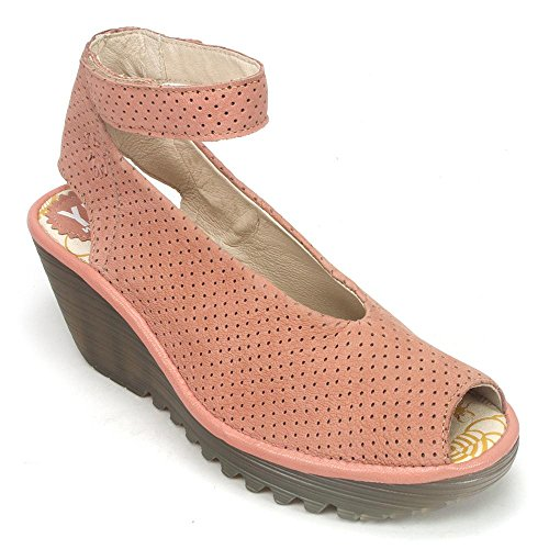 Fly London Kvinners Yala Perforert Kile Sandal Rose Cupido / Mousse