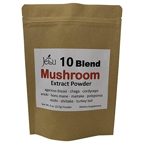 Mushroom Extract Powder - 10 Blend Mushroom Powder – Agaricus blazei, Chaga, cordyceps, Enoki, Lion's Mane, maitake, Polyporus, reishi, Shiitake, Turkey Tail – Add to Coffee/Tea/Smoothies – 8oz