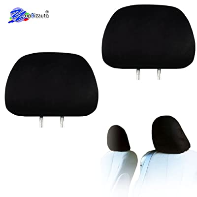 Yupbizauto 2X Cars Trucks & Cover DVD tv Monitors Solid Black Polyester Universal Headrest Covers with Foam Backing- Set of 2: Automotive [5Bkhe2010435]