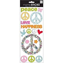 """Puffy Stickers 5.5""""X12"""" Sheet-Peace Love & Happiness"""