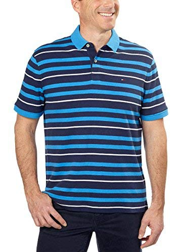 Multi Striped Polo Shirt - Tommy Hilfiger Mens Striped Interlock Polo Navy Blazer/Multi Large
