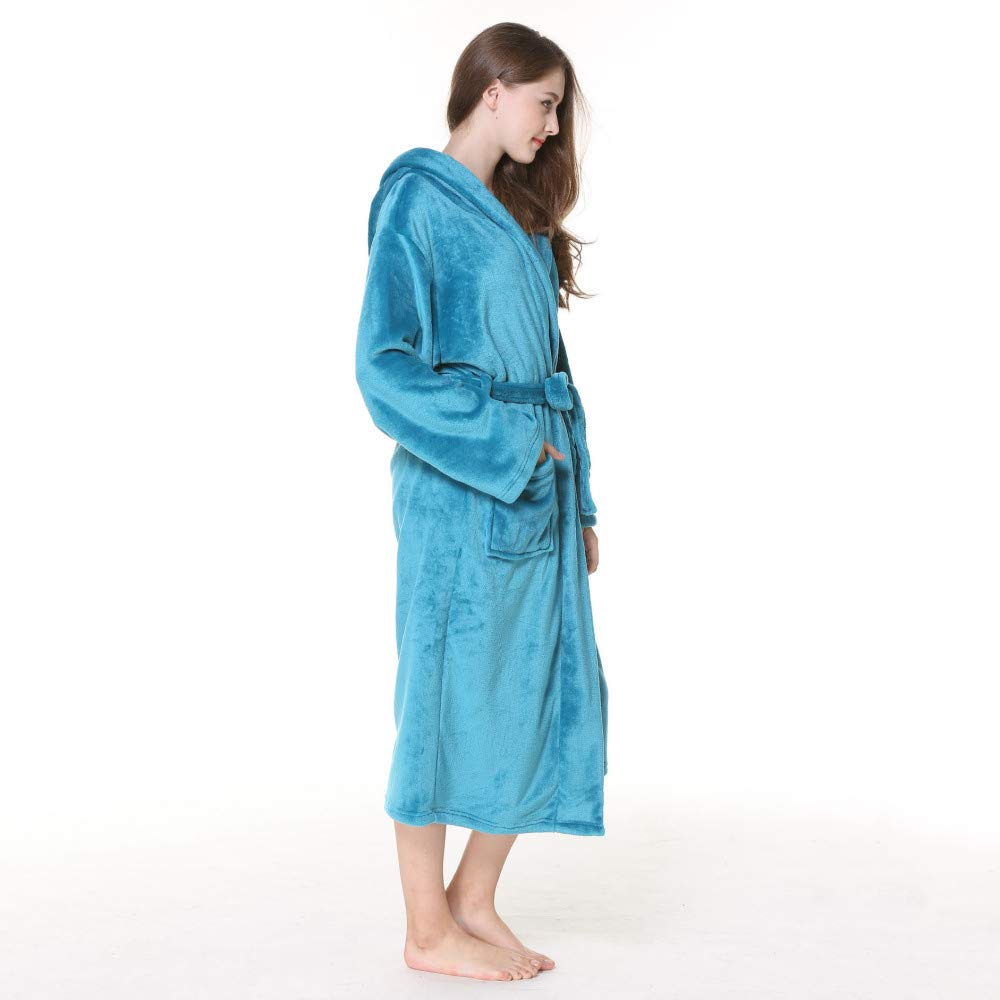 HGDR Mujeres Señoras Lujo Súper Suave Franela Bata De Baño Batas Toallas Albornoz Bata De Casa Ropa De Noche Vestidos con Capucha Y Cinturón,Blue-M: ...