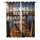 lovely seaside patio decor ideas Window Treatments Curtains Room Window Panel Set for Living/Dining/Bedroom, Seaside Boardwalk Yacht Sunny View Bible Proverb He Maks Beauty Out of Ashes 52 by 52 Inch, 2 Panels