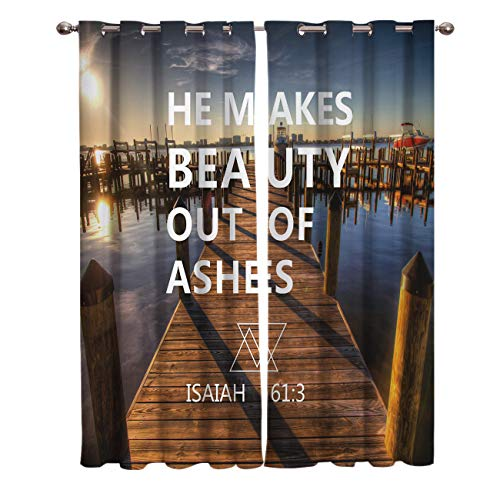 Window Treatments Curtains Room Window Panel Set for Living/Dining/Bedroom, Seaside Boardwalk Yacht Sunny View Bible Proverb He Maks Beauty Out of Ashes 52 by 52 Inch, 2 Panels