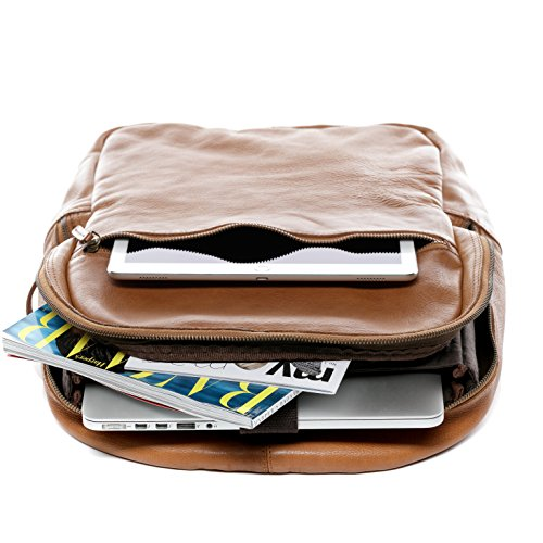 a portatile borsa marrone 4 borsa backpack pelle a BACCINI adatto Zaino zainetto 15 spalla DARIO vera v8xwfSqT
