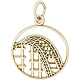 Rembrandt Charms 14K Yellow Gold Roller Coaster Charm on 14K Yellow Gold Rope Chain Necklace, 20''
