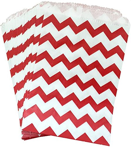 Outside the Box Papers Red and White Chevron Treat Sacks 5.5 x 7.5 48 Pack Red, White (Designer Box Treat Red)