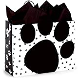 Pooch's Paws Paper Shopping Bags - Vogue Size - 16 x 6 x 12 1/2in. - 150 Pack