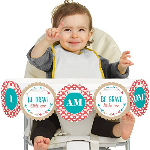 Big Dot of Happiness Be Brave Little One 1rst Birthday Highchair Decor - I Am One - Boho Tribal First Birthday High Chair Banner