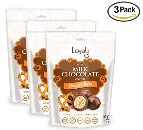 GLUTEN-FREE MILK CHOCOLATE Covered Pretzel Balls (3-Pack) - Lovely Candy Co. (3) 6oz Bags - NON-GMO, NO HFCS, RBST-FREE & Gluten-Free, Consciously crafted in the USA!