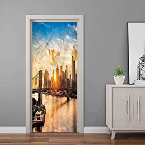 New York Decorative Wall Stickers Cityscape of Brooklyn Door Stickers Decor PVC Removable Art | 30