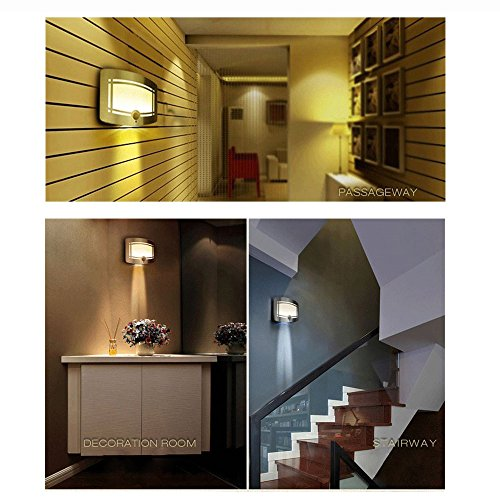 Wireless Motion Sensing Lights, Warm LED Wall Light, Aluminum Stick-on Indoor Security Light, Battery Operated Sconce Wall Night Lamp for Stair/Kitchen/Bathroom/Laundry Room/Hallway/Closet by DEGOL (Image #6)
