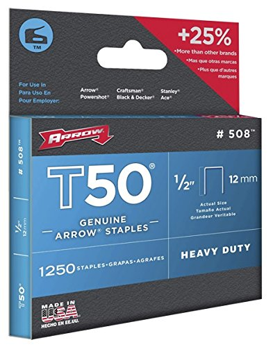 Arrow 508 Genuine T50 1/2-Inch Staples, 1,250-Pack