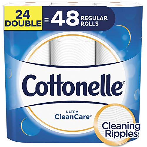 Cottonelle Toilet Paper, 24 Double Rolls, 170 Sheets Per Roll, Ultra CleanCare, Soft Bath Tissue, Biodegradable, Septic-Safe