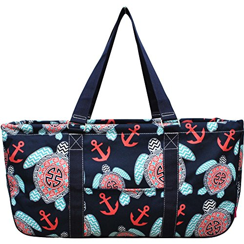 Sea Turtle Anchor Print NGIL Large Canvas Utility Tote (Canvas Print Tote)