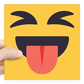 Cafepress closed eyes tongue emoji fa square sticker 3 x 3 square bumper