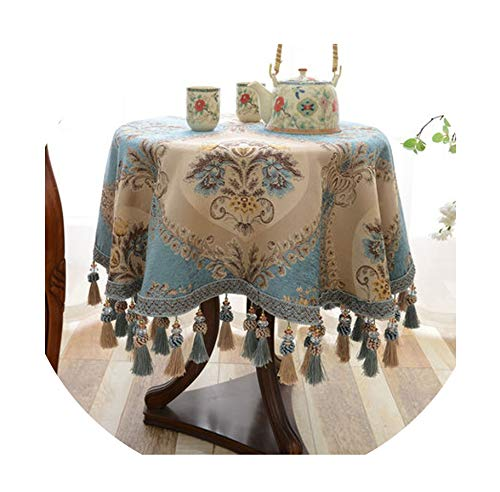 Luxury European Style Round Table Cloth with Pendant Kitchen Accessories Living Room Coffee House Home Decoration Table Cloth,Pattern 06,9090cm