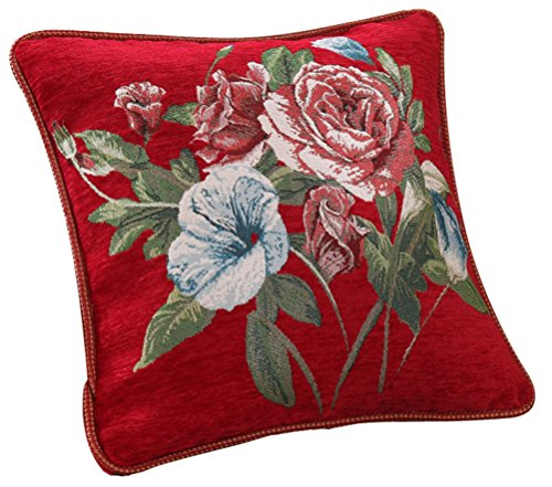 LivebyCare Embroidered Flower Chenille Pillow Case 19x19 Inch Cushion Cover Sham Pillowcase Zipper for Decorative Couch Sofa Chair Mothers Day