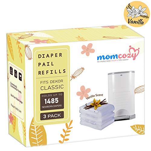 Dekor Classic Refills by Momcozy | 3 Pack | Vanilla Scent | 22 Layers Extra Thickness | Fits Dekor Plus Size Diaper Pails | Biodegradable Disposable Diaper Pail Liner | Hold Up to 1485 Diapers