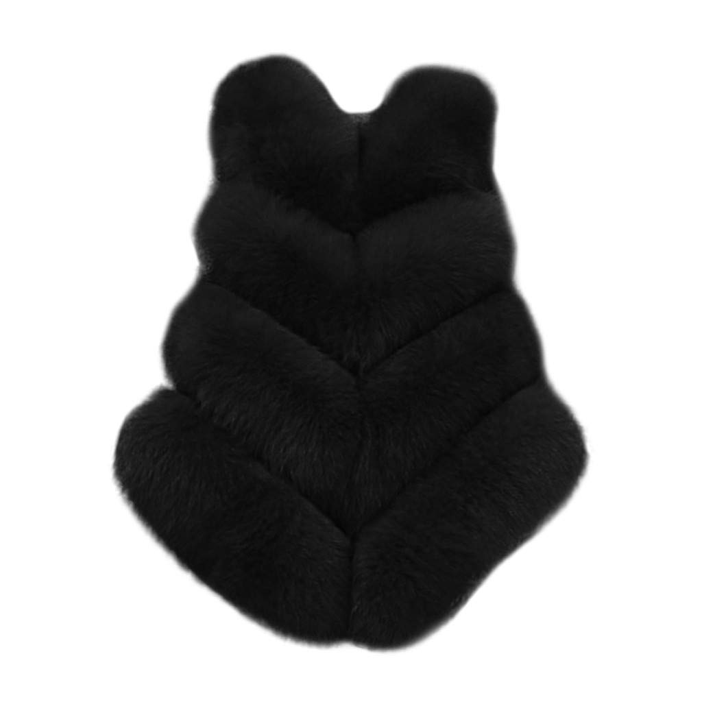 Funnygals - Fashion Women Faux Fur Waistcoat Short Vest Jacket Coat Sleeveless Outwear Gilets 8 Colors Plus Size Black by Funnygals - Clothing
