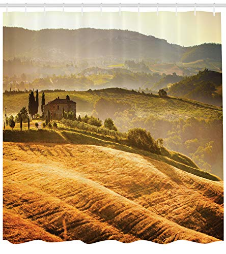 (Lunarable Tuscan Shower Curtain, Siena Tuscany Retro Farm House Trees Old Path Country Landscape on Sunset, Fabric Bathroom Decor Set with Hooks, 105 inches Extra Wide, Ginger and Green)