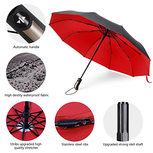 Travel Umbrella Windproof Double Canopy Vented Windproof, Waterproof Auto Open/close Umbrellas,Extra Large Oversize Travel Umbrella,Double Layer Anti-UV Umbrella. by XDSheng (Image #4)