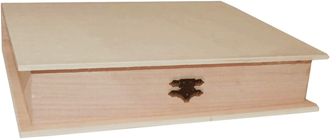 Re-Star Caja de Madera con Forma de Libro 4.6 x 24.7 x 18.6 cm ...