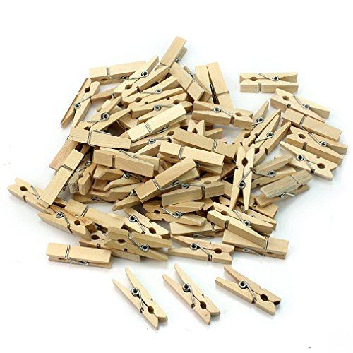 RuiChy 100 Pcs Useful Mini Wooden Clothes Photo Paper Peg Clothespin Craft DIY Clips