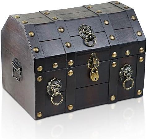 Brynnberg Caja de Madera con candado Cofre del Tesoro Pirata de Estilo Vintage   Hecha a Mano   Diseño Retro  : Amazon.es: Hogar