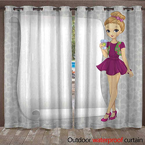 RenteriaDecor Outdoor Balcony Privacy Curtain Fashion Gossip Girl with Banner W72 x L84