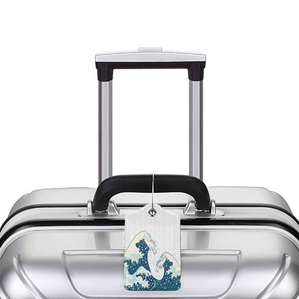 Multi-patterned luggage tag Navy and White The Great Waves of Kanagawa Japanese Illustration Ocean Design Double-sided printing White Navy CadetBlue W2.7 x L4.6