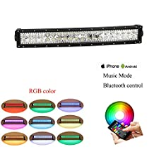 Nicolight Curved 20Inch 22Inch LED Light Bar RGB halo ring with Bluetooth App & Wiring Harness Control for Rock lights kit Off Road lights Bluetooth lights for truck car Driving Lights Waterproof
