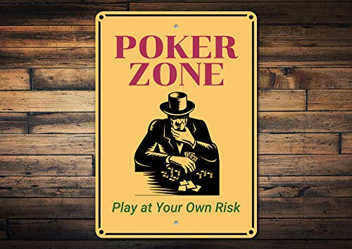 (Wini2342ckey Poker Zone Sign Poker Zone Decor Poker Texas Holdem Decor Poker Gift Sign Poker Decor Room Decor Metal Sign Quality Metal)