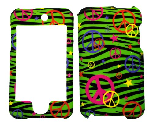 (Colorful Peace Sign on Green Zebra Rubberized Protective Cover Case for Apple Ipod Touch Itouch 2nd Gen 3rd Gen)