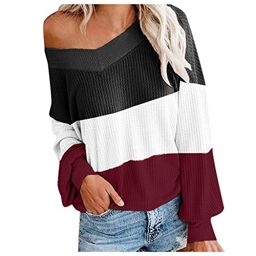 YOcheerful Stitching Blouse Ladies Fashion Winter V Neck Casual Shirts Colorblock Long Sleeve Loose Top Red