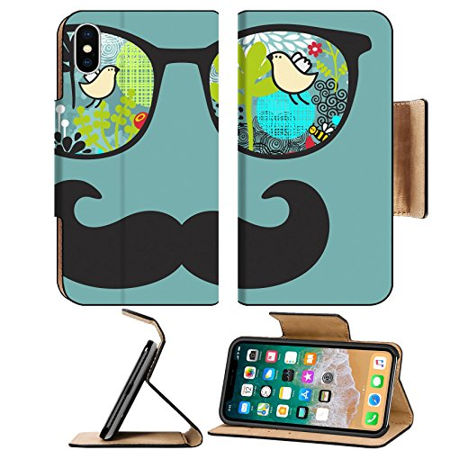 Luxlady Premium Apple iPhone X Flip Pu Leather Wallet Case IMAGE ID: 26796297 Retro sunglasses with reflection for hipster Vector illustration of accessory eyeglasses isolated - Vector Sunglasses