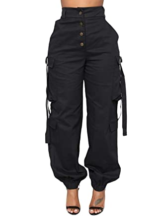 1d8abf6a817612 Joyfunear Women's Casual Loose Elastic Buttons Down Cargo Pants with  Stretch Twill Pockets Black Small