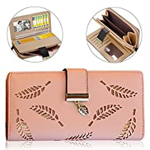Cute Wallet for Women, Pershoo Credit Card Holder Wallet Soft Leather Billfold Clutch Handbag Coin Purse, Multifunction ID Window Driver License Passport Folding Organizer Hollow Leaf Bilfold Zipper Phone Holder + [Exquisite Gift Bag] - Pink